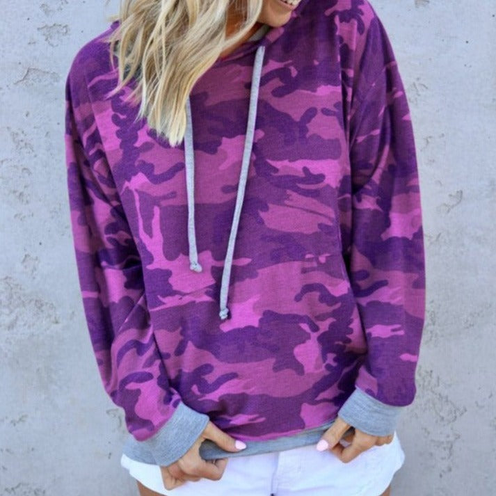 Women Loose Fit Camouflaged Print Pullover Hoodies Sweatshirt - fashionshoeshouse