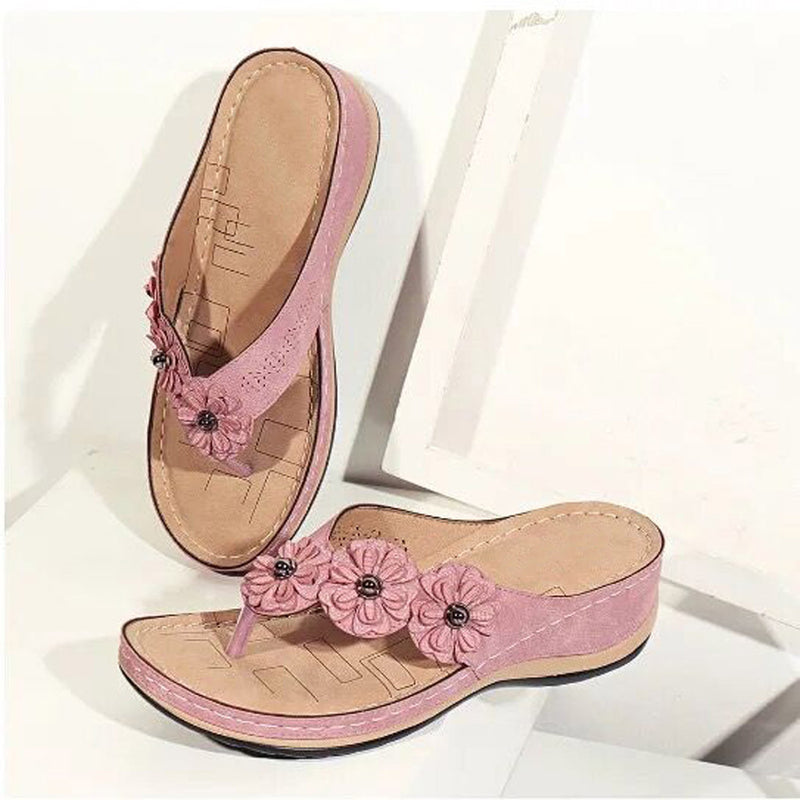 Women Retro Flowers Comfortable Slide Flip Flop