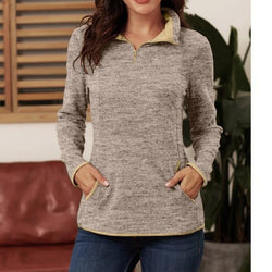 Pure Color Standing Collar Long Sleeve Pullover Sweatshirts For Women - fashionshoeshouse