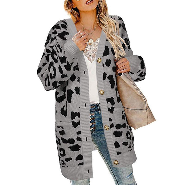 Elegant OL Style Button Leopard Sweater For Women - fashionshoeshouse