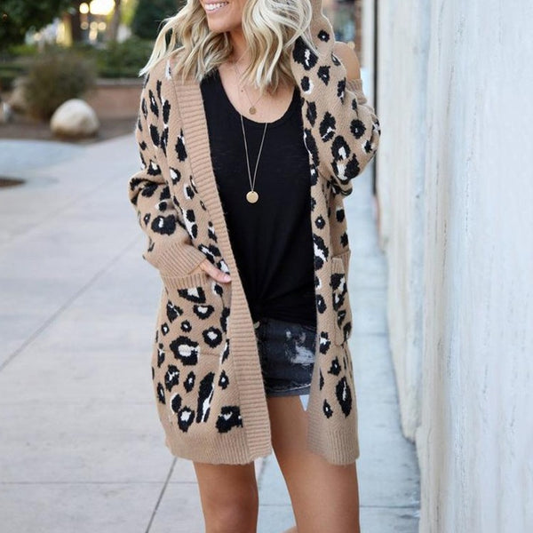 Women 2019 Winter Fashion Cardigan Leopard Sweater - fashionshoeshouse