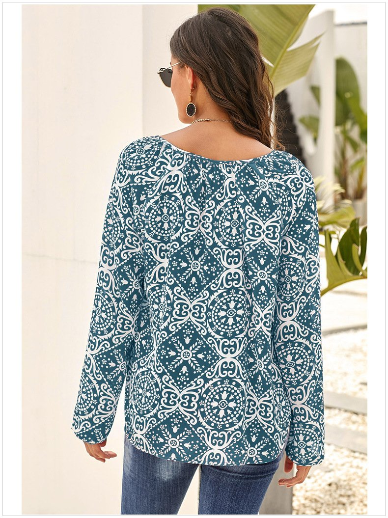 Chiffon V Neck Flowers Printed Pullover Tops For Women - fashionshoeshouse