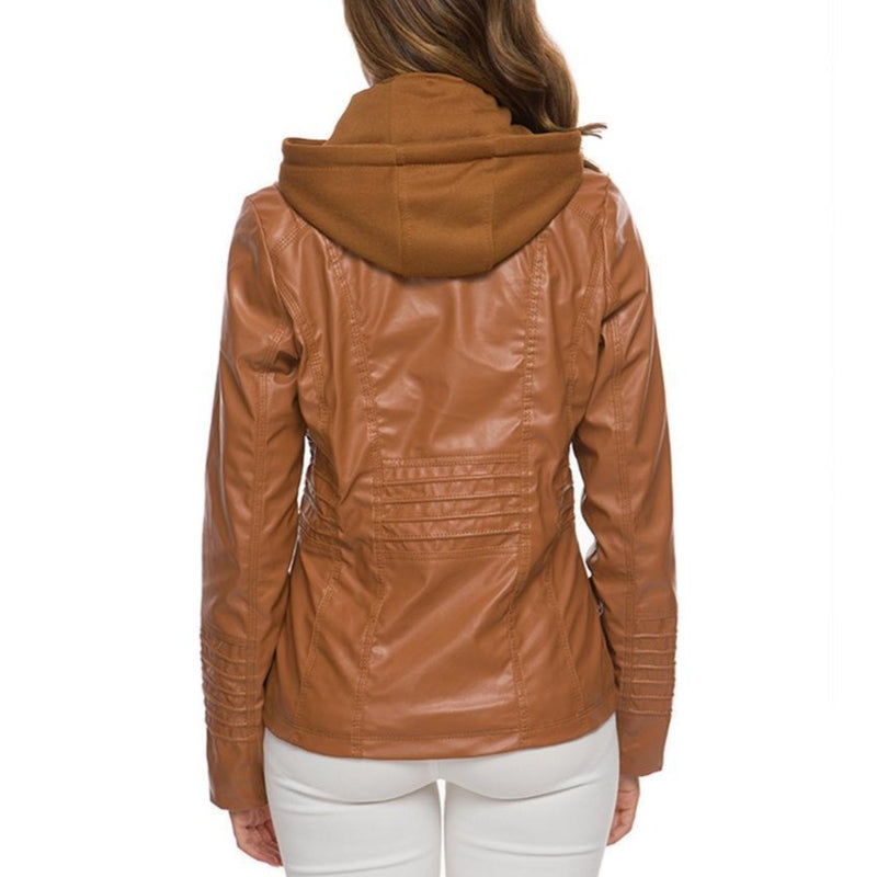 Women Long Sleeve Hooded Cropped Jacket - fashionshoeshouse