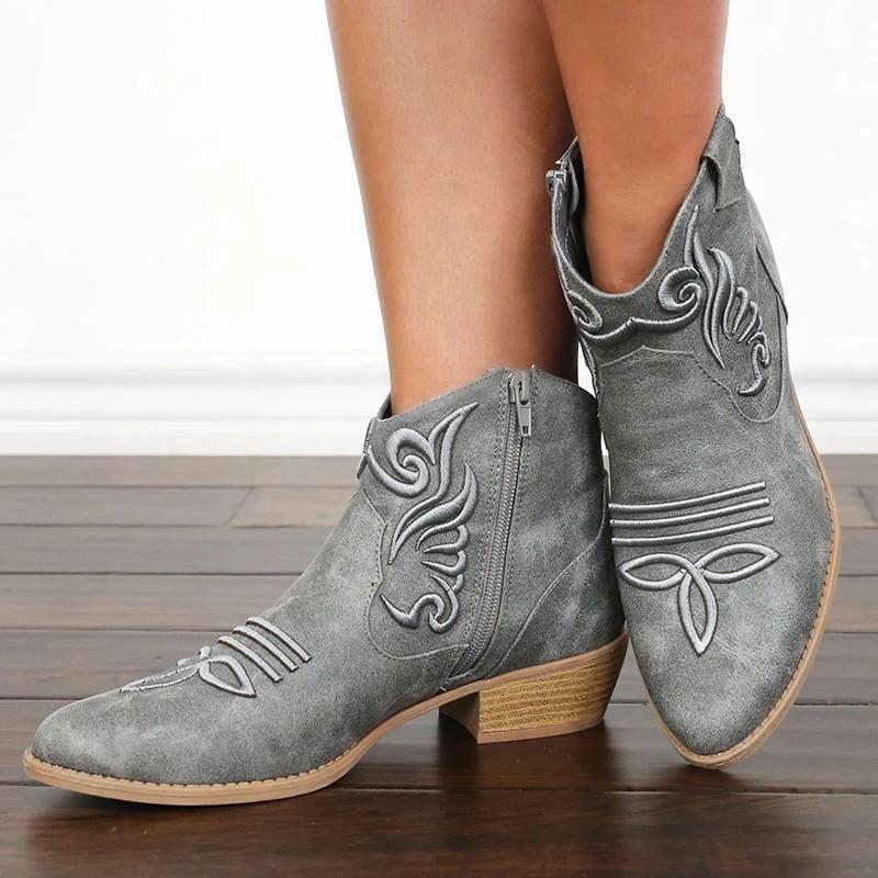 Ethnic Vintage Embroidered Flowers Zipper Black Ankle Boots - fashionshoeshouse
