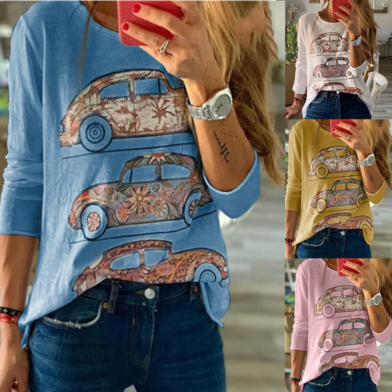 Long Sleeve Round Neck Car Printed Women Tops - fashionshoeshouse