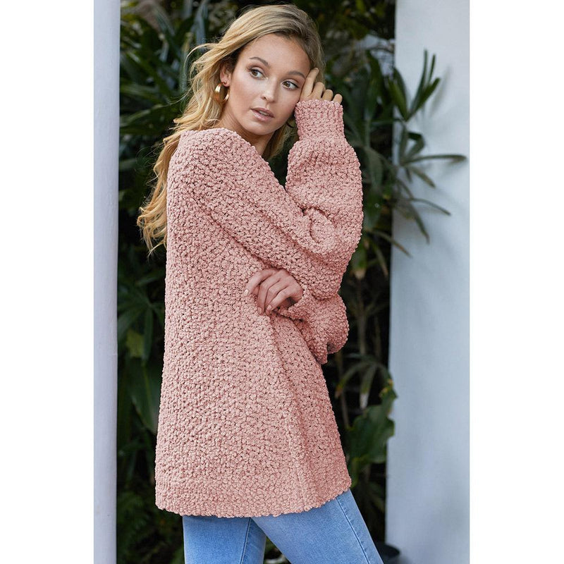 Women Winter Autumn Pure Color Loose Pullover V Neck Sweater - fashionshoeshouse