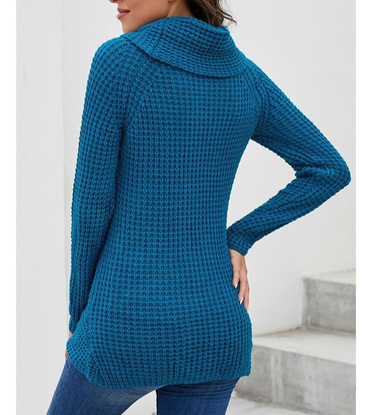 Asymmetrical Knit Buckles Turtle Neck Sweaters For Women - fashionshoeshouse