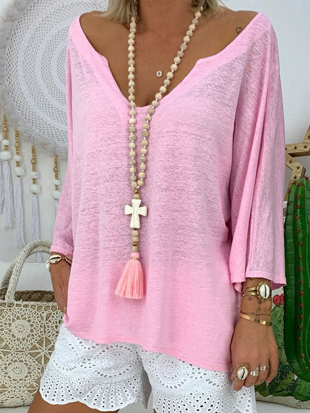 Pure Color Loose Flared Sleeve V Neck Women Tops - fashionshoeshouse