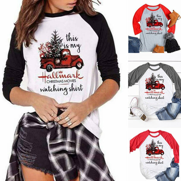 Women Christmas Tree Letters Car Printed Tops - fashionshoeshouse