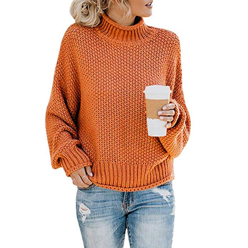 Women Winter Kint Crew Neck Turtleneck Sweater - fashionshoeshouse