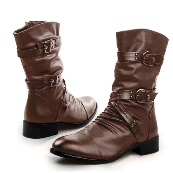 Fashion Buckle Strap Studded Womens Biker Boots