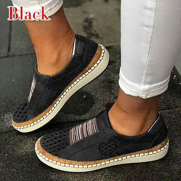 Women Casual Breathable Hollow Slip On Flat Loafers - fashionshoeshouse