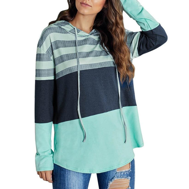 Autumn Crewneck Loose Drawstring Striped Sweatshirts For Women - fashionshoeshouse