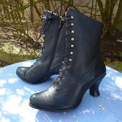 Vintage Louis Heels Side Zipper Lace Up Punk Boots - fashionshoeshouse