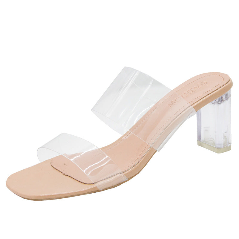 Women Two Strap Chunky Heel Clear Sandals