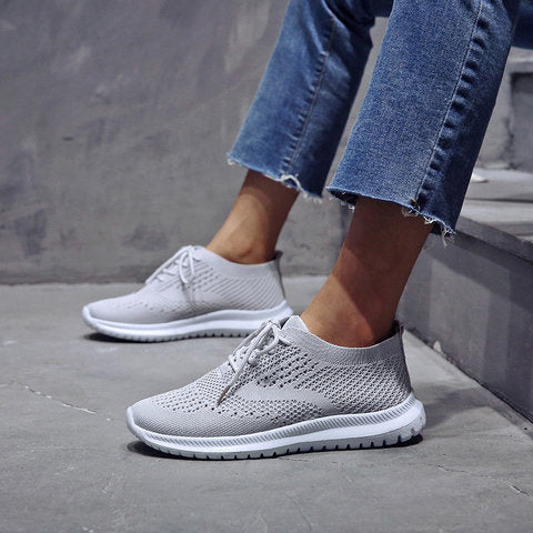 Breathable Mesh Flat Shoes Slip On Running Sneakers - fashionshoeshouse