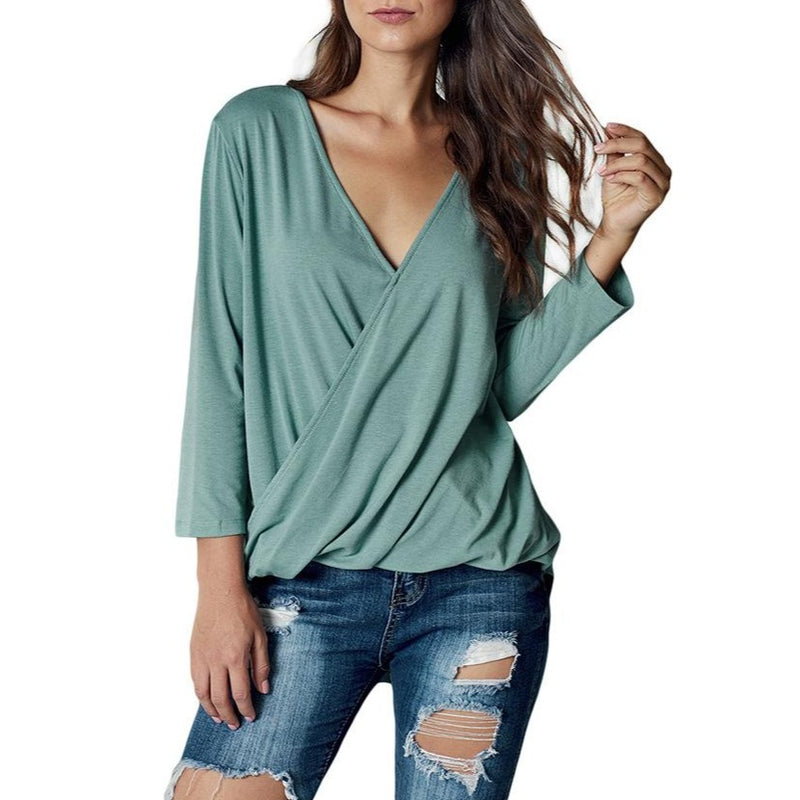 New Chic Pure Color V Neck Pullover Fold Tops For Women - fashionshoeshouse