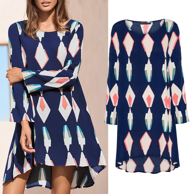 New Asymmetry Geometric Autumn Long Sleeve Print Dress - fashionshoeshouse