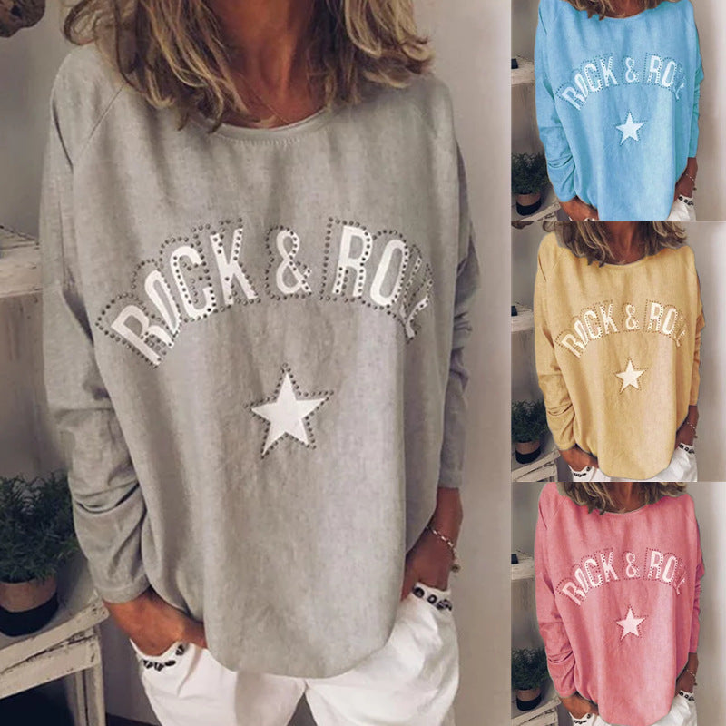 Women Round Neck Cotton-Blend Long Sleeve Casual Tops - fashionshoeshouse
