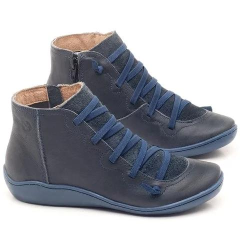 Women Booties Casual Flat Leather Lace-up Zipper Boots - fashionshoeshouse