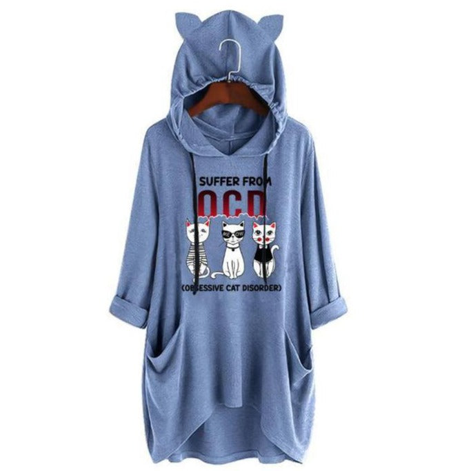 Drawstring Plus Size Meow Cat Letter Print Women Loose Hoodies Sweatshirt - fashionshoeshouse