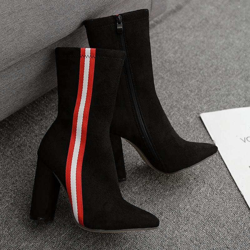 2019 Fashion Women 10cm High Heels Ankle Boots Thick Heels - fashionshoeshouse
