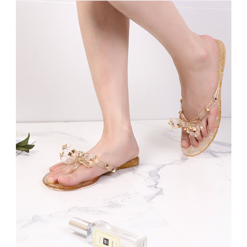 Women Fashion Studded Jelly Sandals Summer Beach Slide Sandals