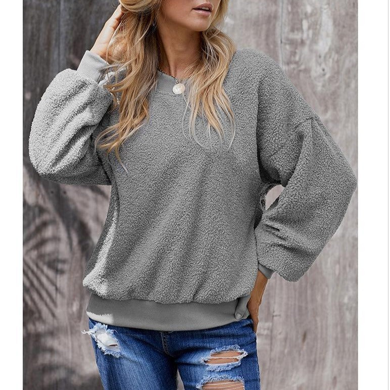 Casual Pure Color Loose Long Sleeve Crew Neck Pullover Sweater - fashionshoeshouse
