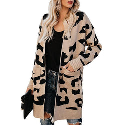 Women Cotton Blend Pockets Leopard Cardigan - fashionshoeshouse