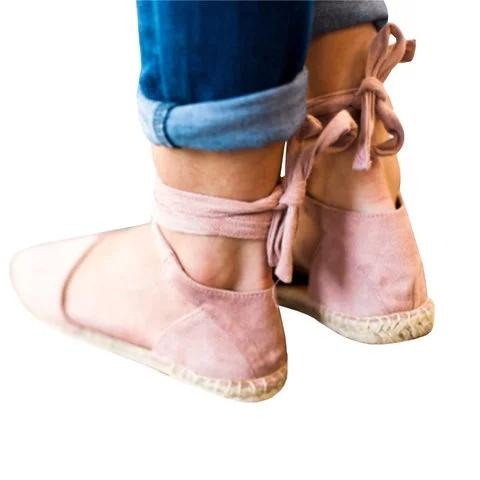 Lace Up Ankle Wrap Side Hollow Flat Espadrille Sandals - fashionshoeshouse