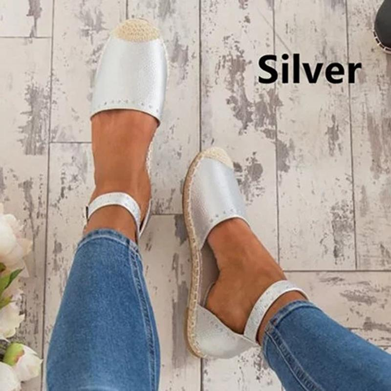 Women Summer Espadrilles Rivet Side Hollow Flat Heel Ankle Ring Sandals - fashionshoeshouse