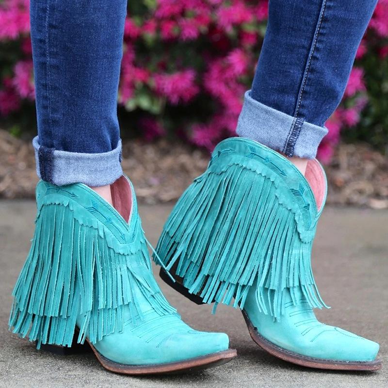 Autumn New Fashion Tassel Booties Women Short Martin Boots - fashionshoeshouse