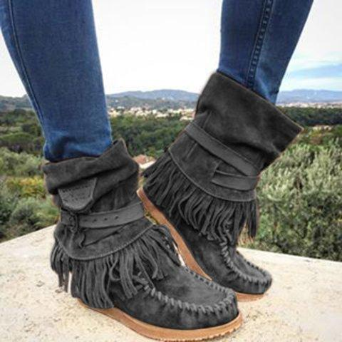 Women Round Toe Platform Short Tassel Fall Boots - fashionshoeshouse