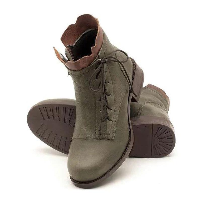 Vingtage Floral Opening Square Heel Lace Up Women Boots - fashionshoeshouse