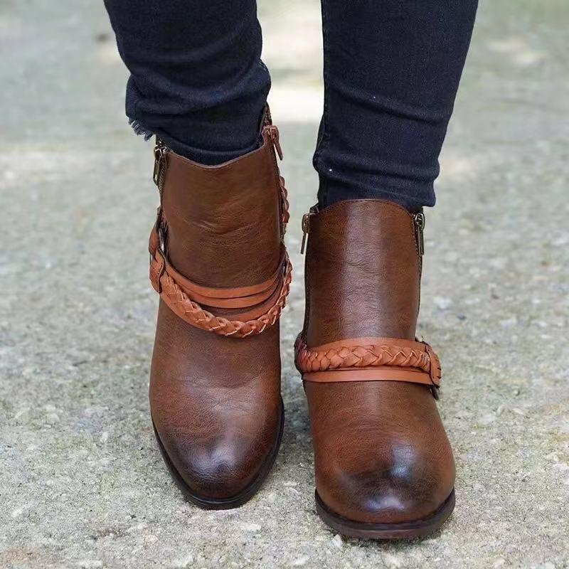 Autumn WInter Fashion Strap Double Breasted Zippers Women Boots - fashionshoeshouse