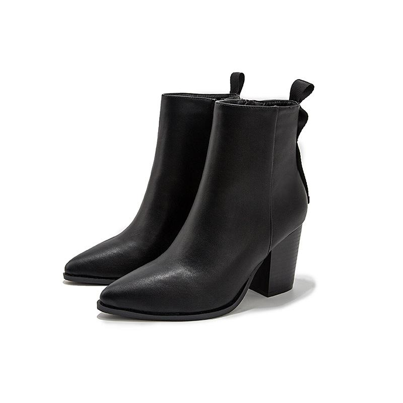 Women Fashion Chunky Short Shalf Black Boots - fashionshoeshouse