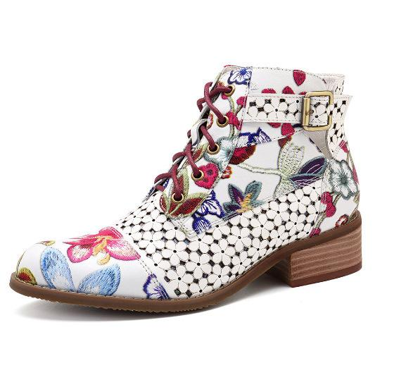 Women Flowers Printing Ankle Strap Short Lace Up Boots - fashionshoeshouse