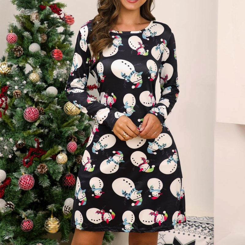 Women's casual printed cartoon Christmas dress long sleeve A-line dress