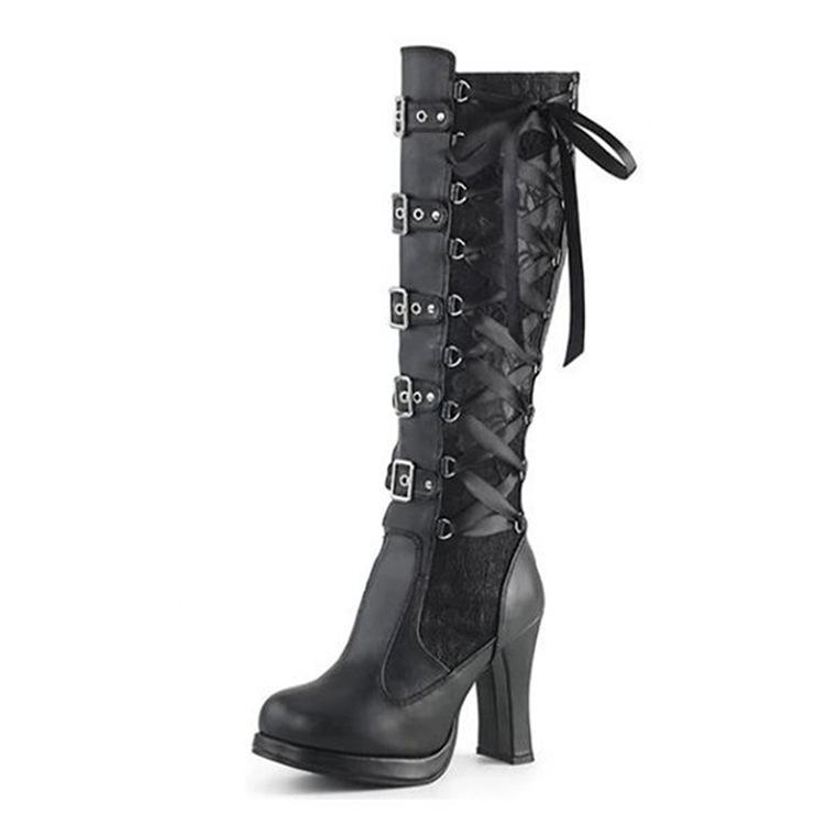 Fashion Chunky Rivet Long Black Platform Boots For Women - fashionshoeshouse