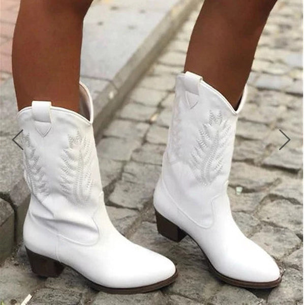 Women Knight Solid Color Embroidered Flowers Chunky Medium Heel Pointed Toe Cowboy Boots