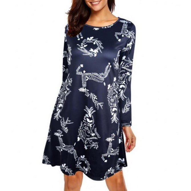 2019 Christmas Women Premium Round Neck Long Sleeve Floral Print Dress - fashionshoeshouse