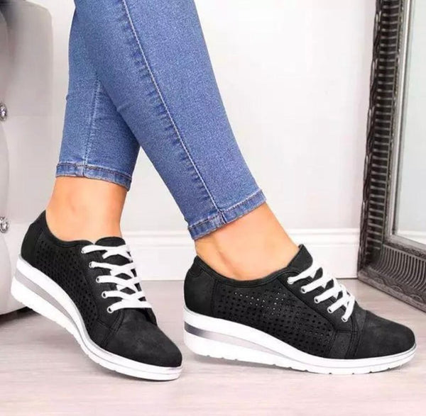 Women Slip On Sneakers Hollow-Out Breathable Design Wedge Heel Sneakers - fashionshoeshouse