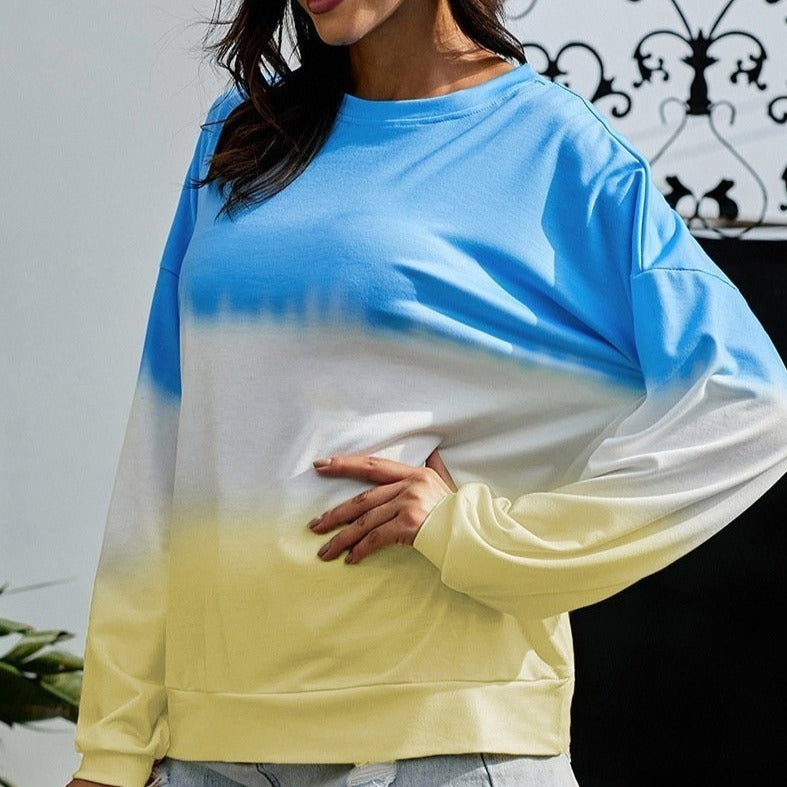 Autumn Casual Crewneck Gradient Cool Sweatshirts For Women - fashionshoeshouse