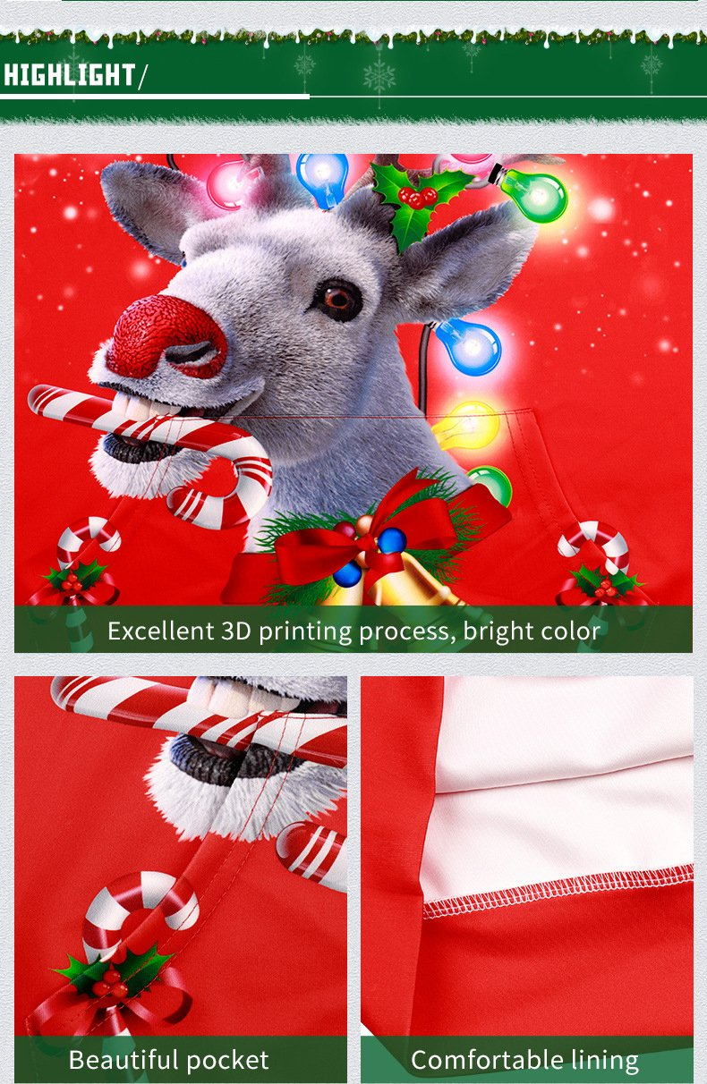 2019 Christmas Couples Lovers 3D Animals Printing Casual Baseball Sweatshirt - fashionshoeshouse