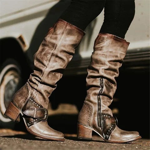 Women Retro Knight Buckle Strap Chunky Heel Platform Boots
