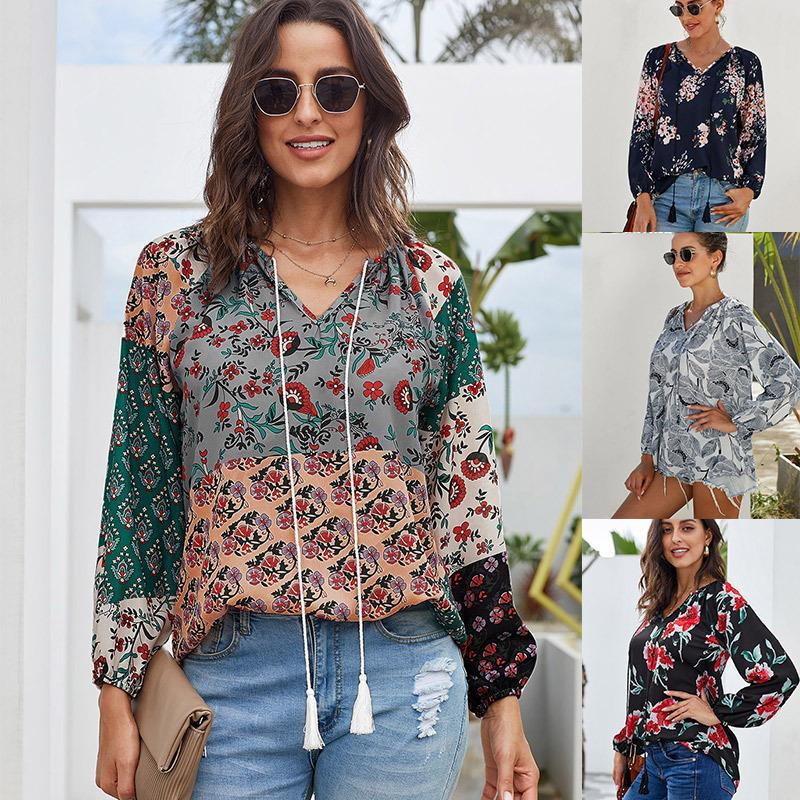 Autumn Fashion Loose Long Sleeve Flowers Printed Chiffon Tops For Women - fashionshoeshouse