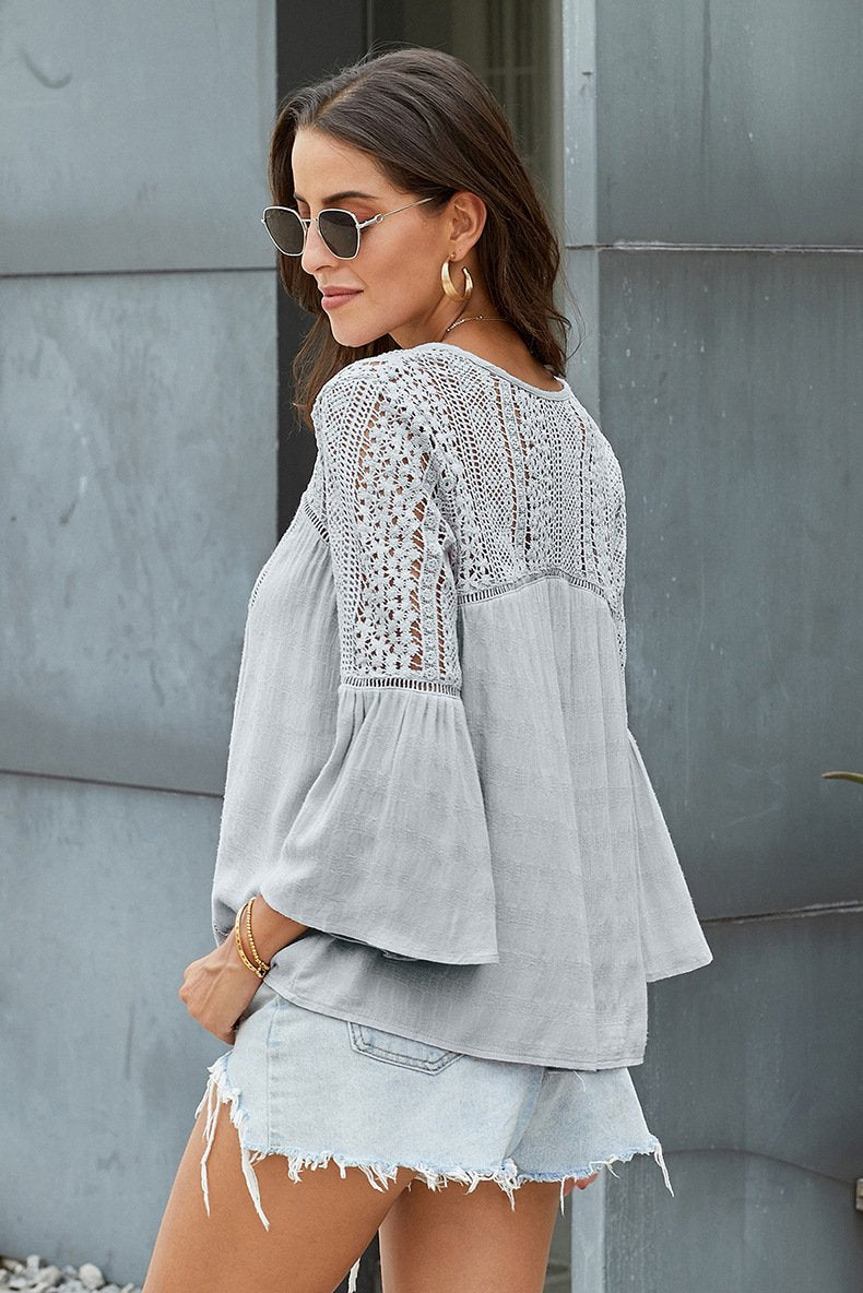 V Neck Embroidered Flare Sleeve Tops For Women - fashionshoeshouse