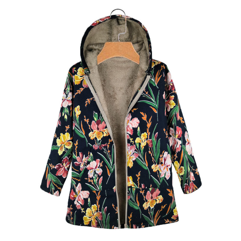 Floral print hooded coat cotton warm winter coat