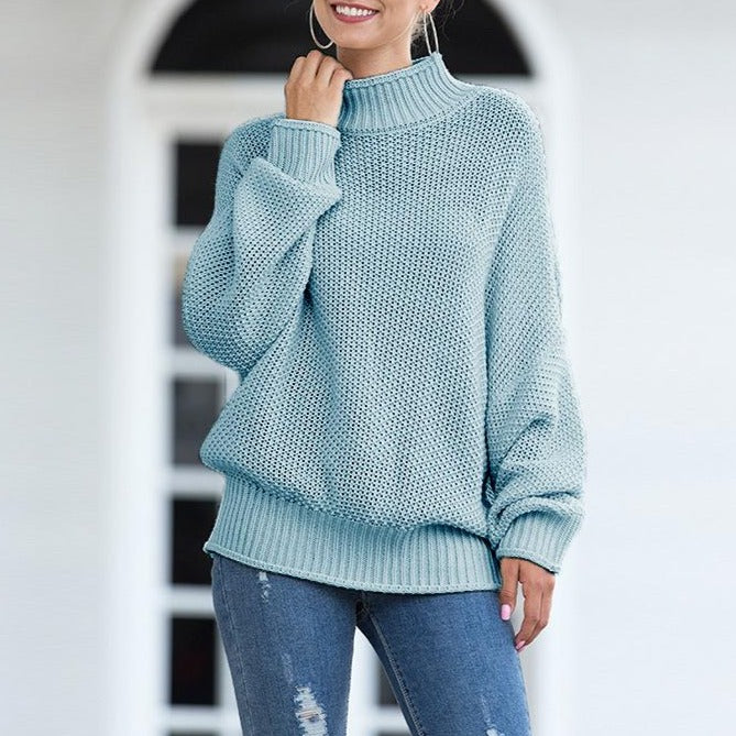 Women Chunky Knitted Pullovers Batwing Turtleneck Sweater - fashionshoeshouse