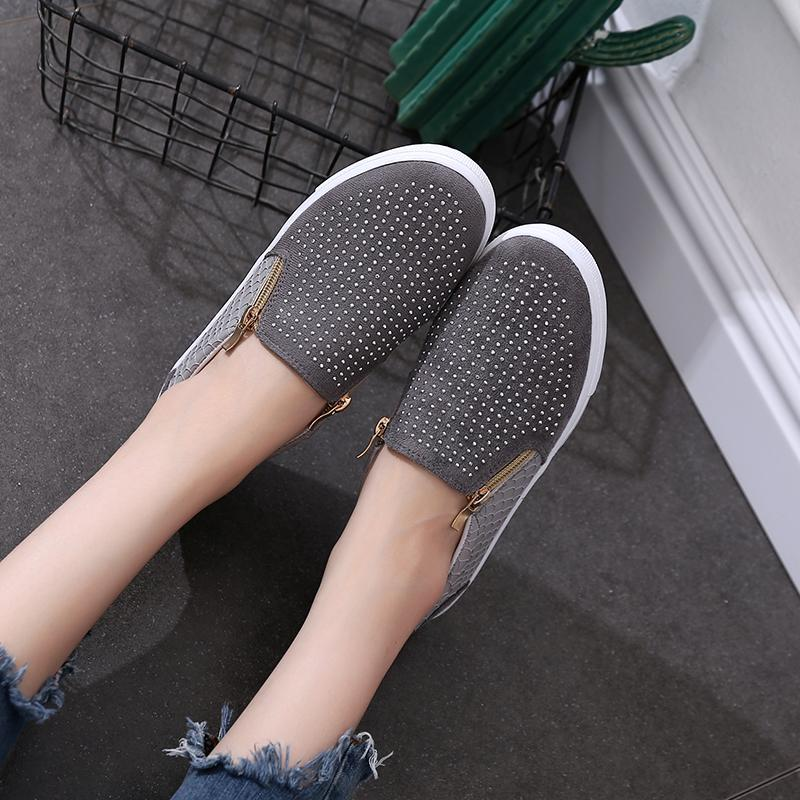 Women Snakeskin Zipper Rhinestone Flat Shoes Loafers - fashionshoeshouse